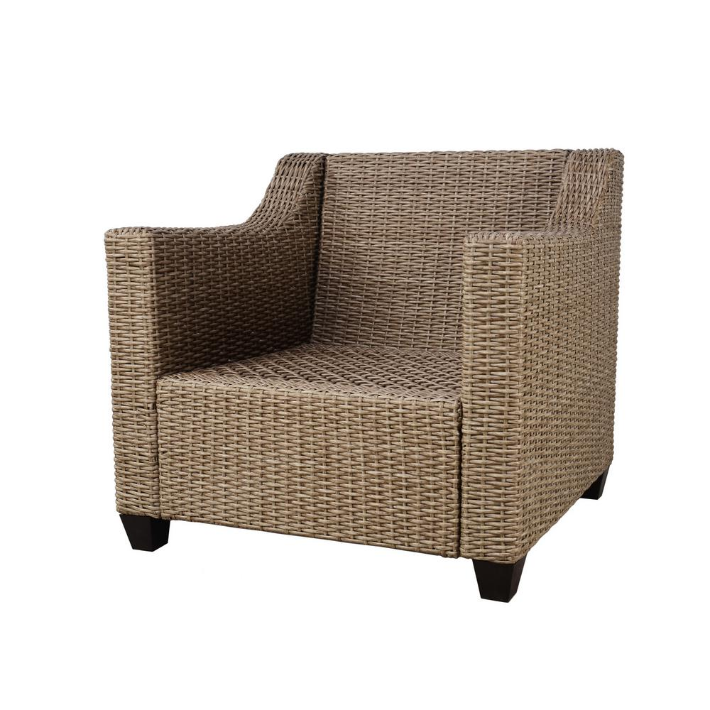 Amber grove natural brown stationary resin wicker outdoor lounge chair with surplus cushions