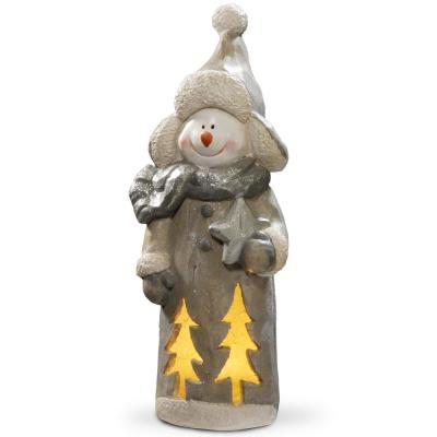18 in. Lighted Snowman Decor Piece