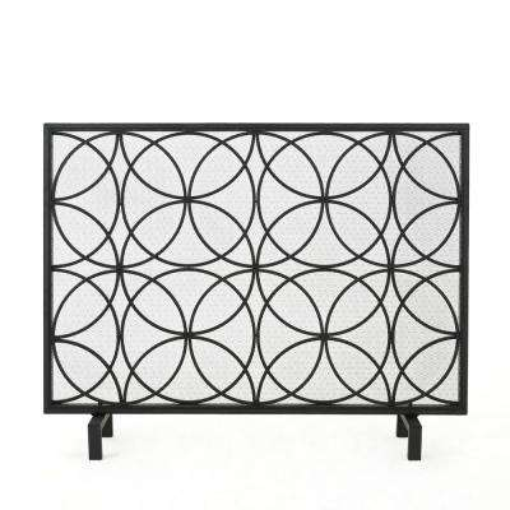 Valeno Black Iron 3-Panel Fireplace Screen