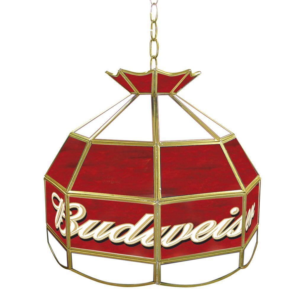 Budweiser 16 in. Brass Hanging Tiffany Style Billiard Lamp