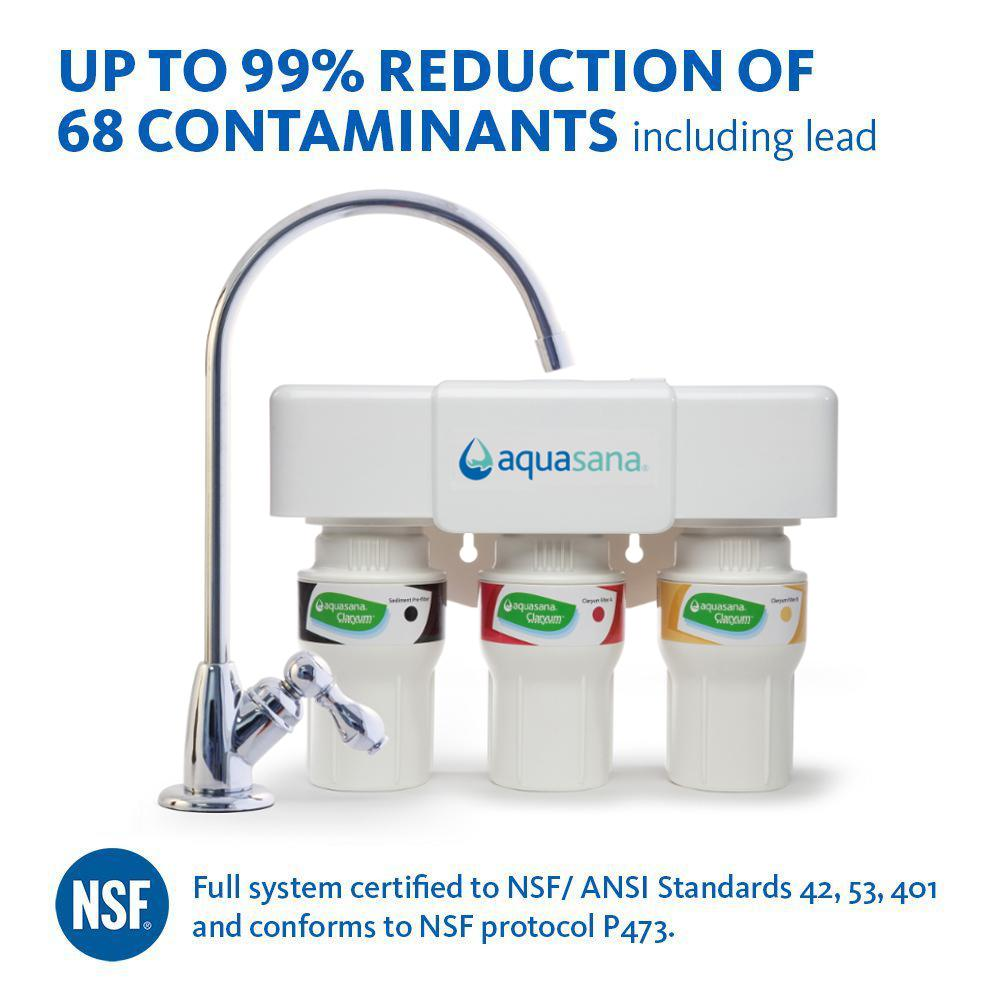 Aquasana 3-Stage Under Counter Water Filtration System with Faucet ...