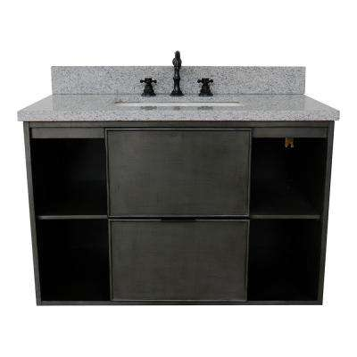 Scandi III 37 in. W x 22 in. D Wall Mount Bath Vanity in Gray with Granite Vanity Top in Gray with White Rectangle Basin