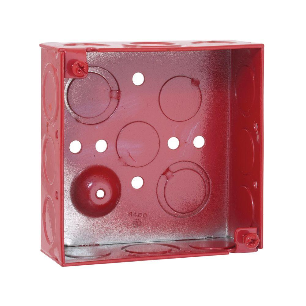 RACO 4 in. Square Welded Box, 1-1/2 Deep with 1/2 and 3/4 in. TKO's - Life Safety Red (50-Pack)