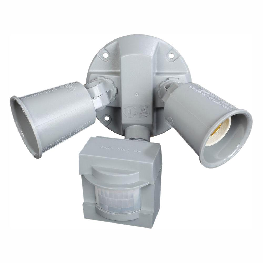 Defiant 110 Degree 2 Light Grey Motion Activated Outdoor