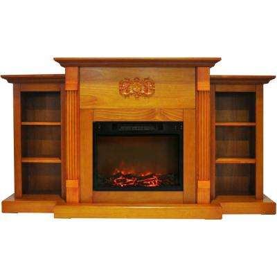 Classic 72 in. Electric Fireplace in Teak with Built-in Bookshelves and a 1500-Watt Charred Log Insert