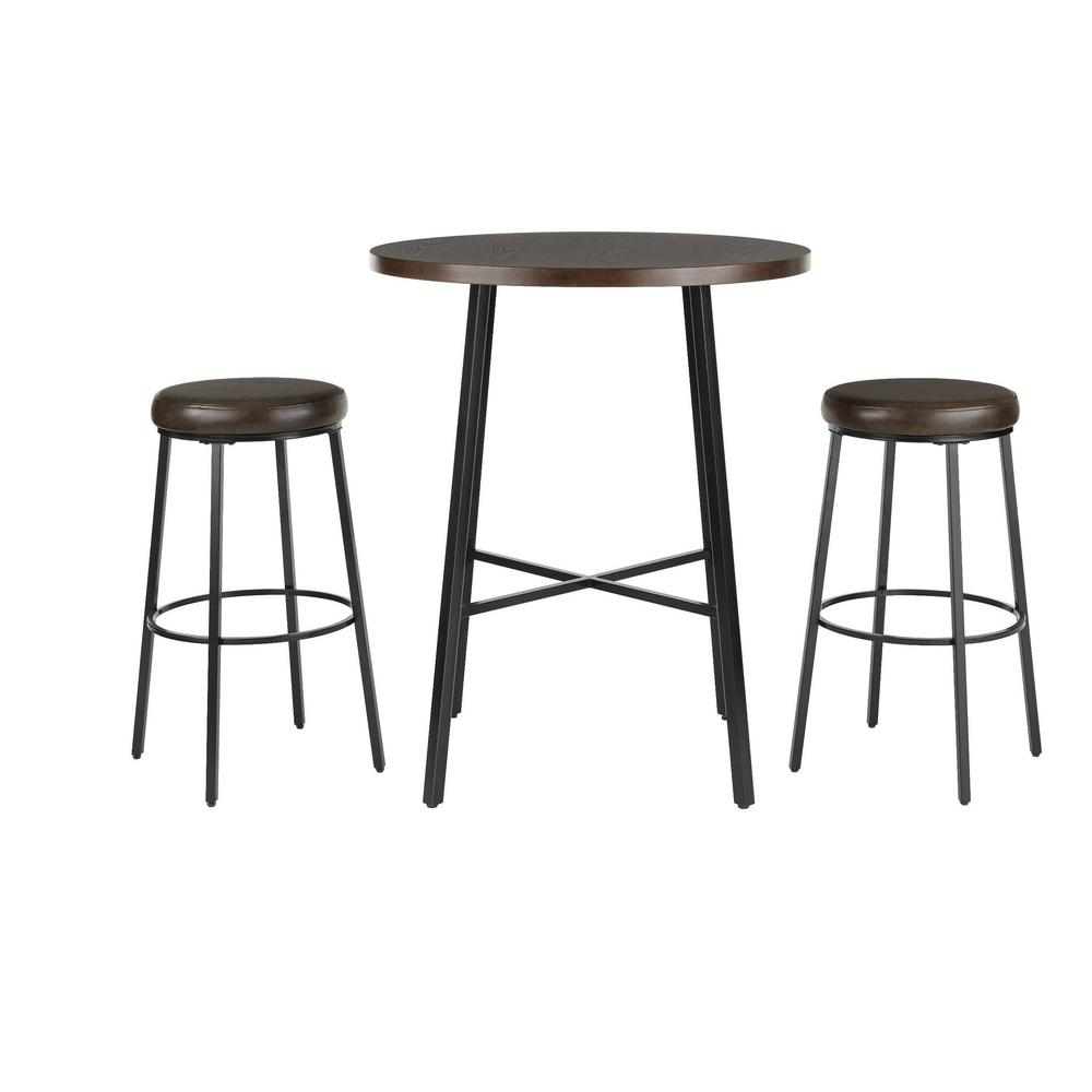 StyleWell Black Metal 3 Piece Dining Set with Chocolate Wood Top (36 in. W x 42 in. H)