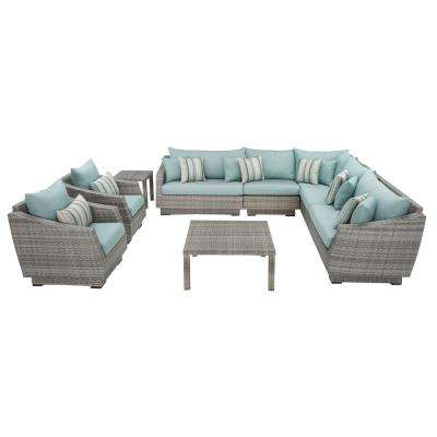 Cannes 9-Piece Patio Corner Sectional and Club Chair Seating Group with Bliss Blue Cushions