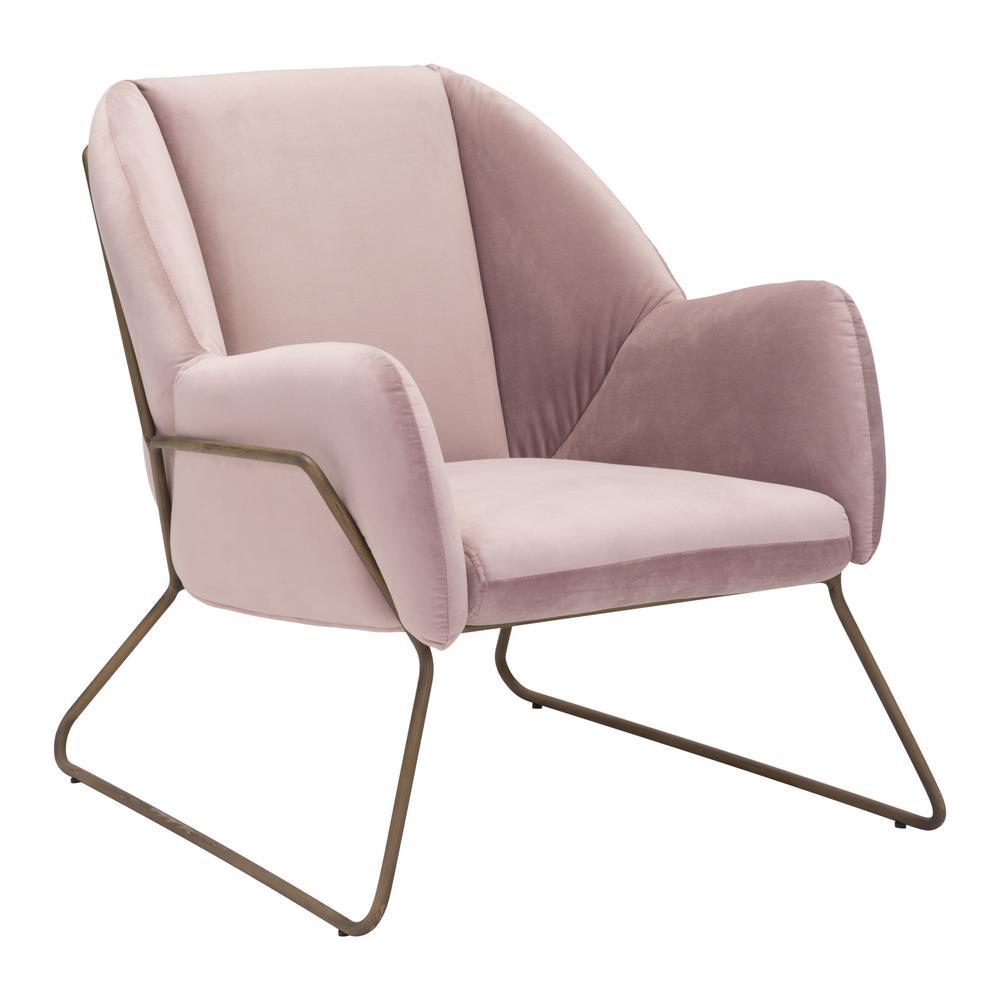 Stanza Pink Velvet Arm Chair