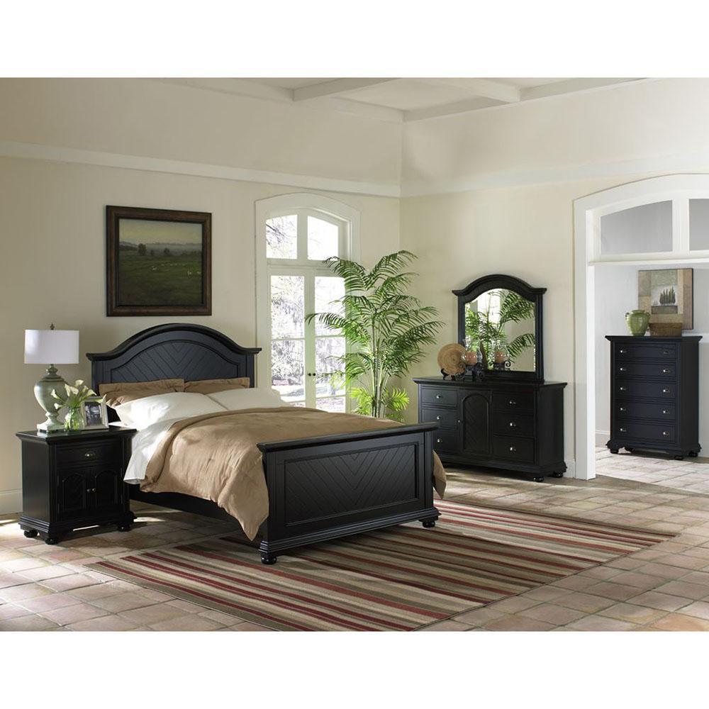 Black Suite Full Bed Dresser Mirror Chest Nightstand