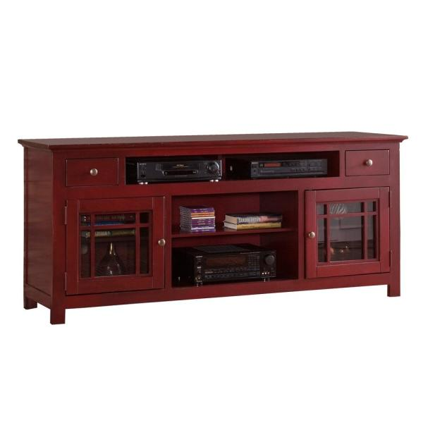Emerson Hills 74 in. Red Wood TV Stand with 2 Drawer Fits TVs Up to 80 in. with Storage Doors