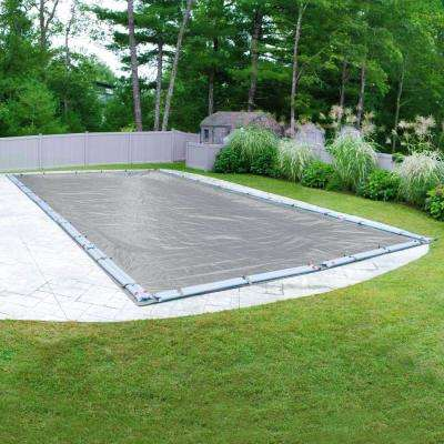 Ultra 25 ft. x 45 ft. Pool Size Rectangular Dove Gray Solid Winter In-Ground Pool Cover