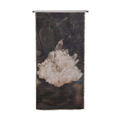 "Gray and White ""White Crystals"" Wall Tapestry"