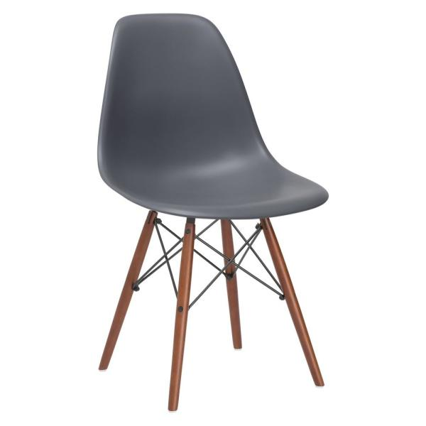 Poly and Bark Vortex Grey Side Chair with Walnut Legs