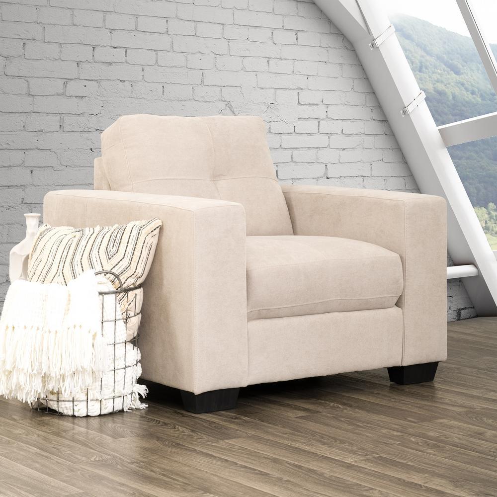 Club Tufted Beige Chenille Fabric Armchair