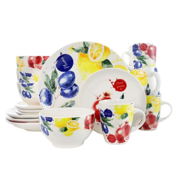 Tuscan Amore 16-Piece Fruit Print Dinnerware Set