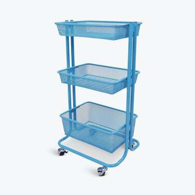 16.75 in. W x 11.25 in. D Home-Storage Wire Storage Utility Cart in Blue