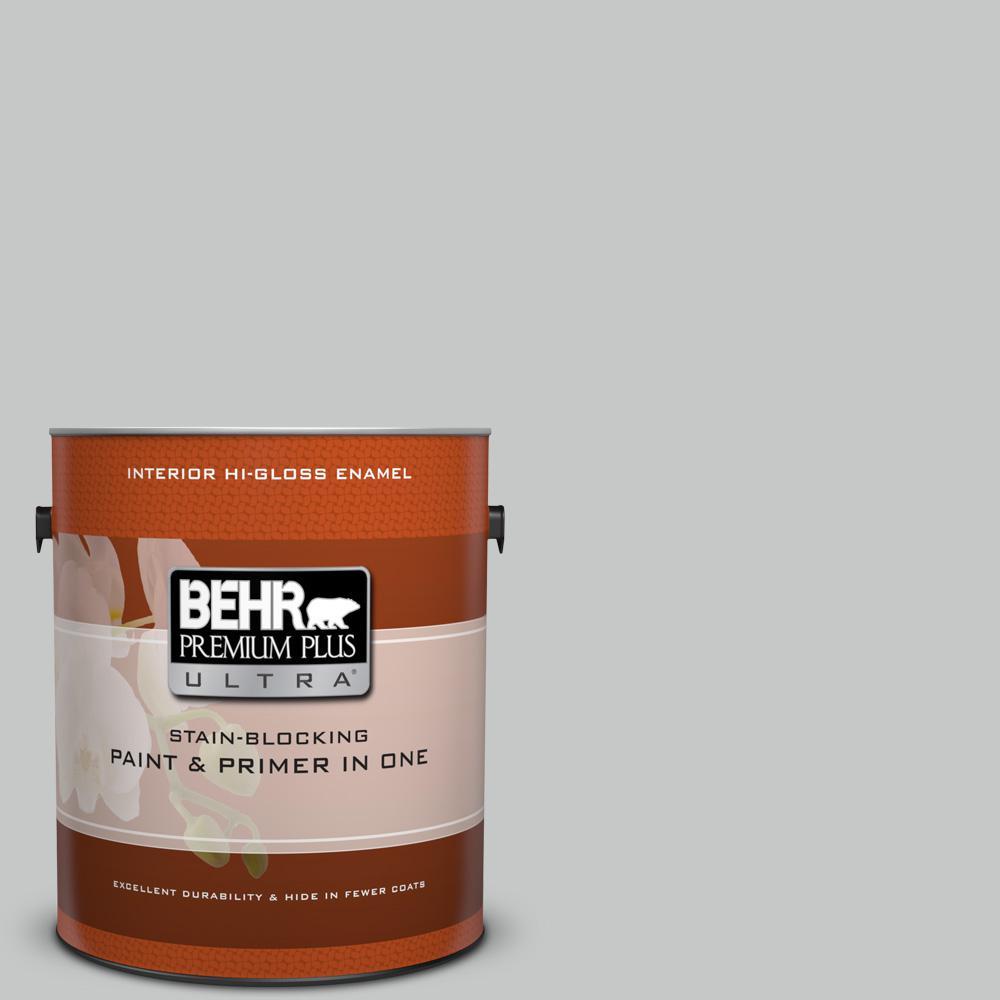 BEHR Premium Plus Ultra 1 gal. #bnc-07 Frosted Silver Hi-Gloss Enamel Interior Paint