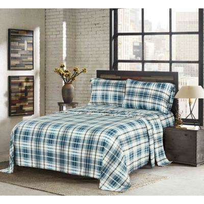Walker Smoke Blue King 4-Piece Fleece Sheet Set