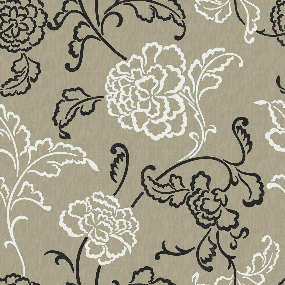 The Wallpaper Company 56 sq. ft. White, Black and Metallic Pewter Stylized Linear Leaf and Flower Wallpaper