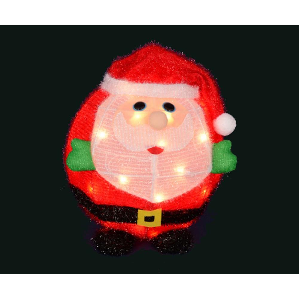 20 in. Pre-Lit 3D Chubby Santa