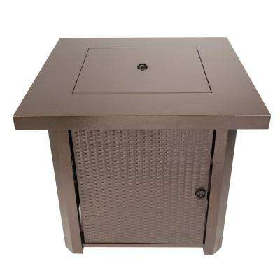 Wilmington 32 in. x 28 in. Square Steel Propane Gas Fire Pit Table in Hammered Bronze with Glass Fire Rocks
