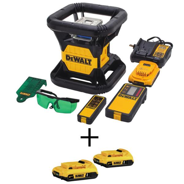 20-Volt MAX Lithium-Ion 250 ft. Green Self-Leveling Rotary Laser Level with (3) Batteries 2Ah, Charger, & TSTAK Case