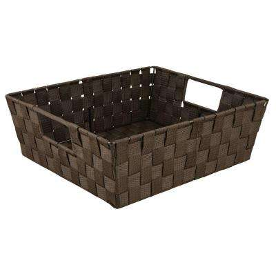 5 in. x 15 in. Woven Strap Shelf Tote Bin in Chocolate