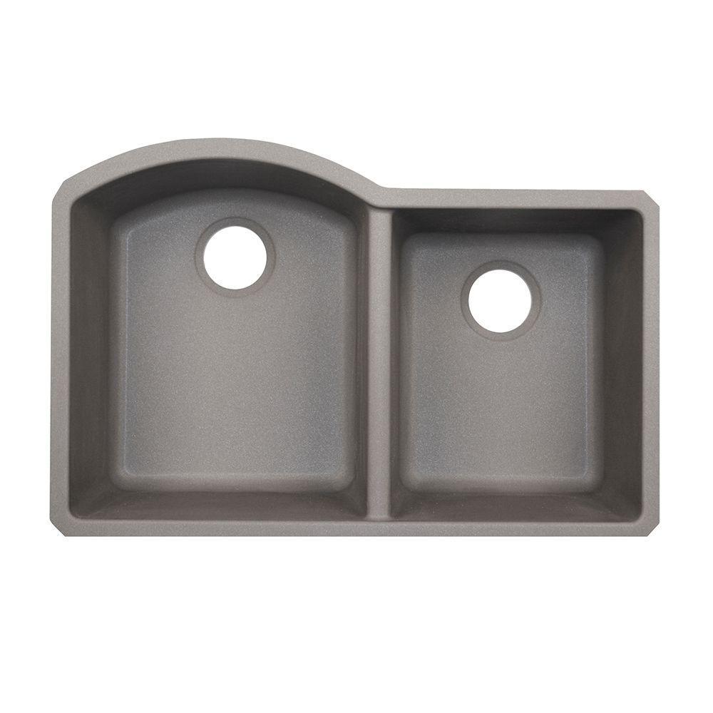 Undermount Granite 32 in. Double Basin Kitchen Sink in Metallico
