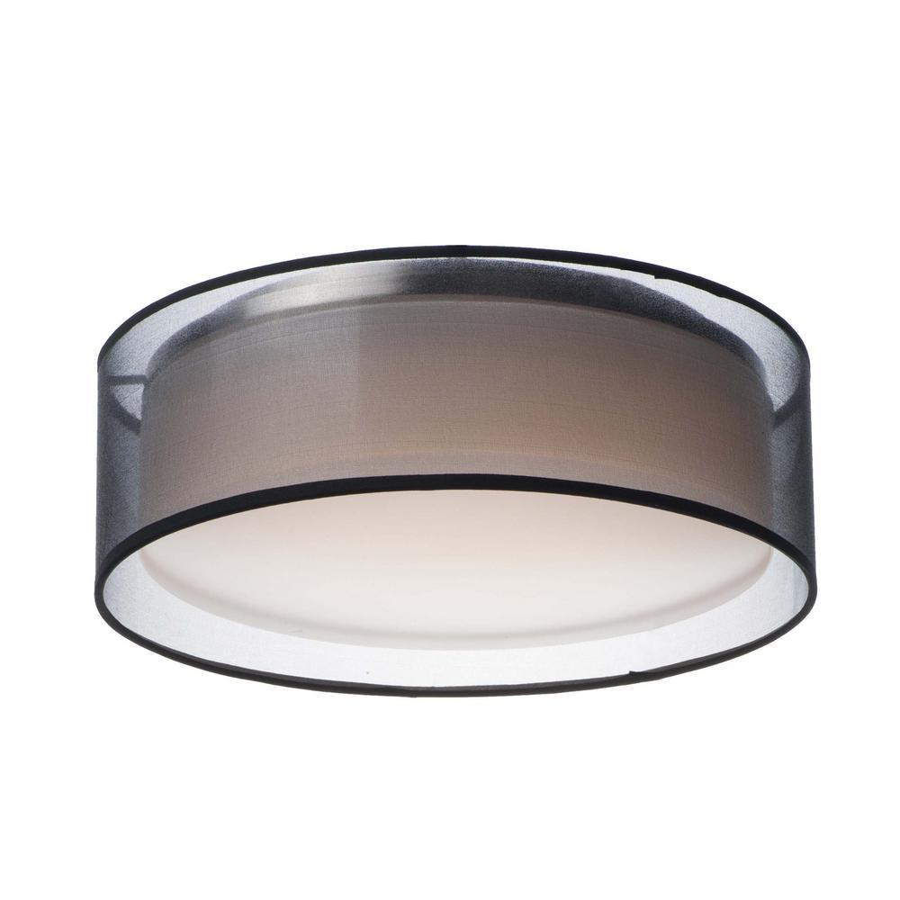 Prime 16 in. Black Organza Integrated LED Flushmount Light