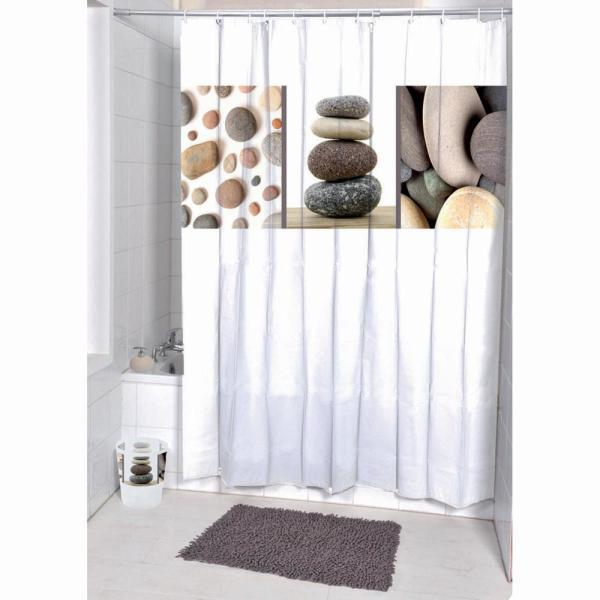Belle Ile Polyester Printed Fabric Shower Curtain Multicolored 1200361
