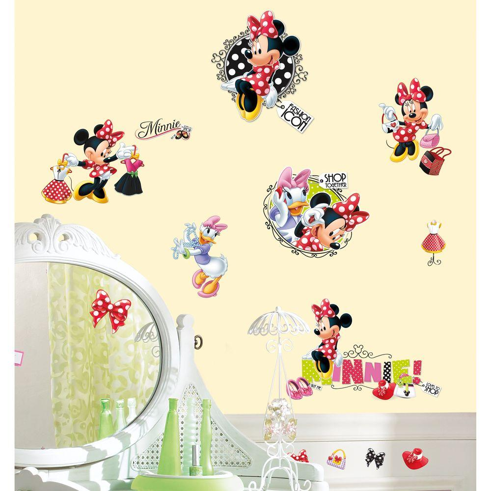 null 10 in. x 18 in. Mickey and Friends - Minnie Loves to Shop 21-Piece Peel and Stick Wall Decals