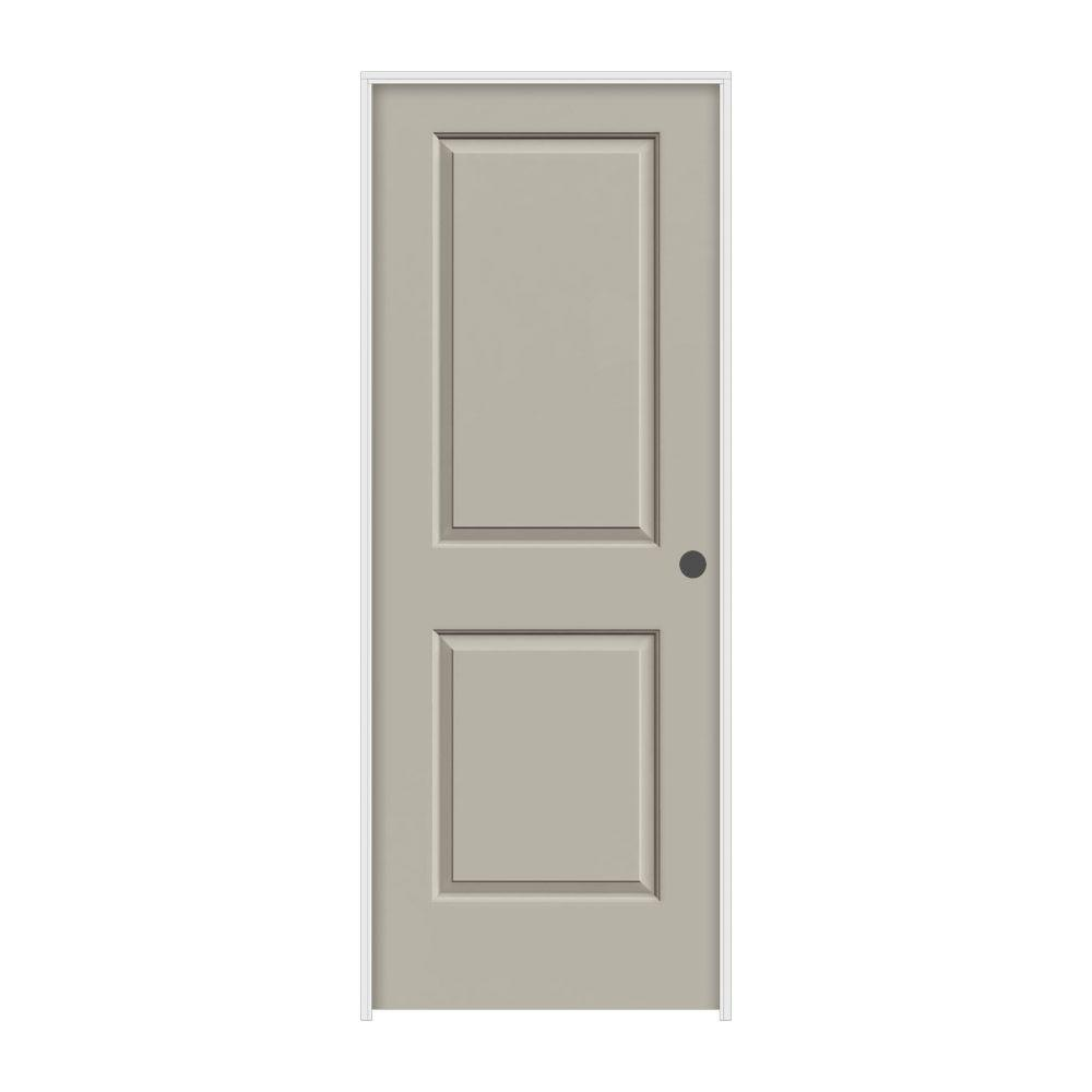 JELD-WEN 24 in. x 80 in. Cambridge Desert Sand Left-Hand Smooth Solid Core Molded Composite MDF Single Prehung Interior Door