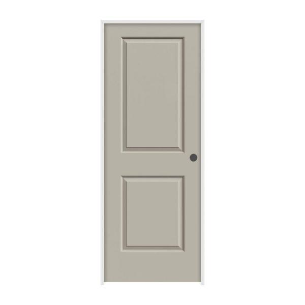 32 in. x 80 in. Cambridge Desert Sand Painted Left-Hand Smooth Molded Composite MDF Single Prehung Interior Door