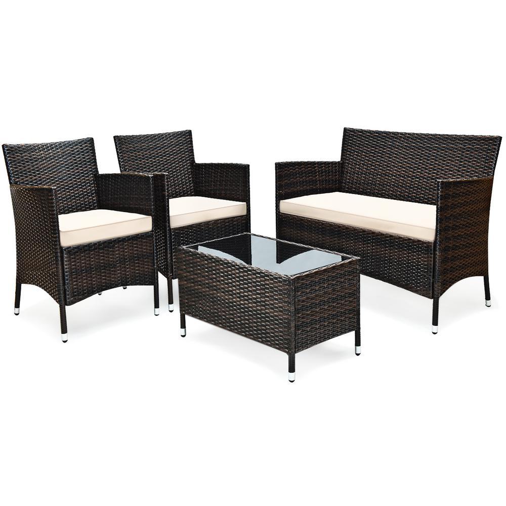 4-Piece Rattan Patio Conversation Set with Beige Cushion