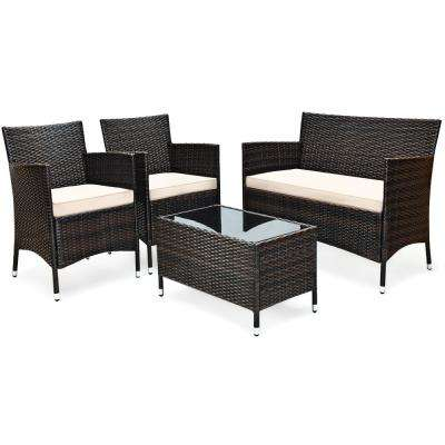 4-Piece Rattan Patio Conversation Set with Cushion Beige