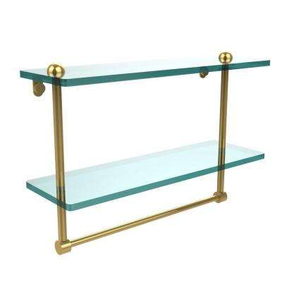 16 in. L  x 12 in. H  x 5 in. W 2-Tier Clear Glass Bathroom Shelf with Towel Bar in Polished Brass