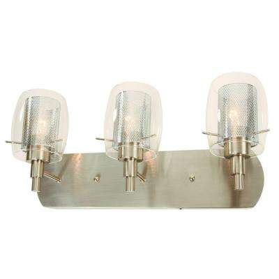 Arnstein 3-Light Brushed Nickel Vanity Light with Clear Glass and Mesh Shades