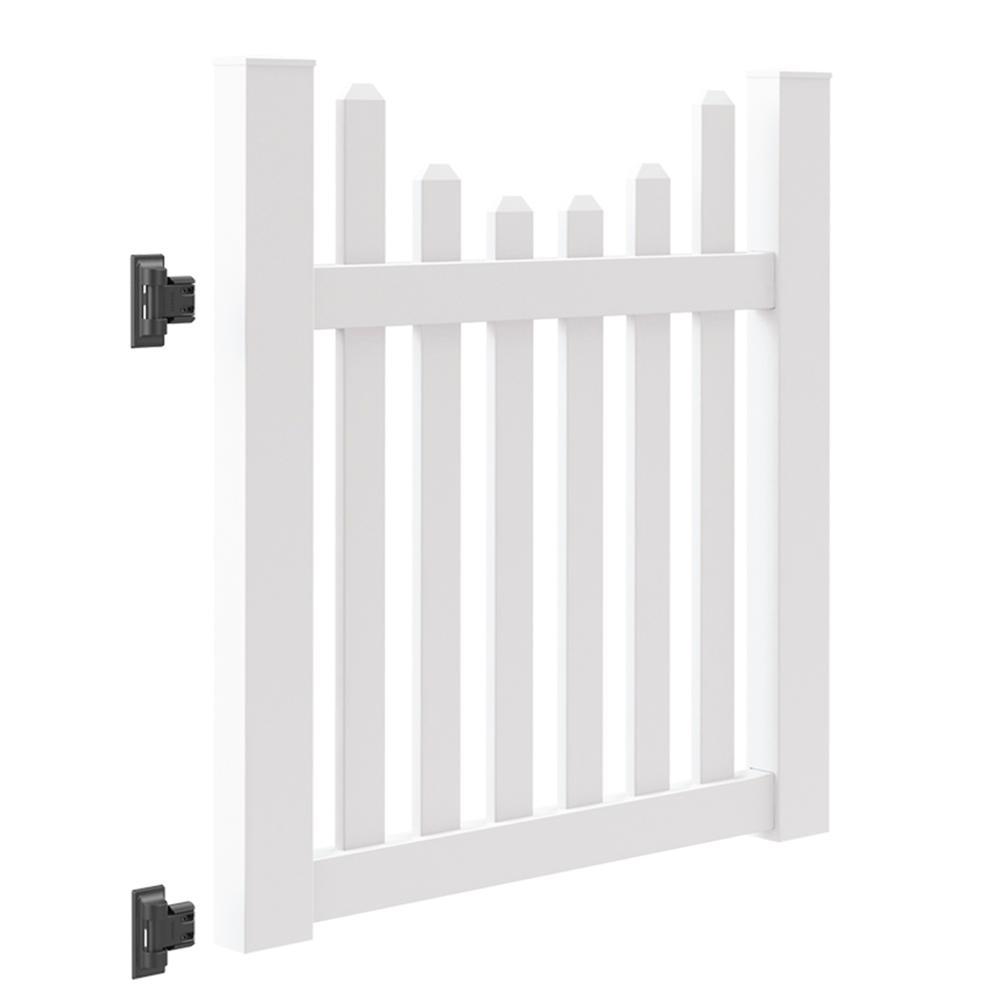 Seneca Scallop 4 ft. W x 4 ft. H White Vinyl Un-Assembled Fence Gate