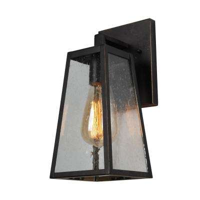 1-Light Oil Rubbed Bronze Outdoor Wall Mount Sconce Light