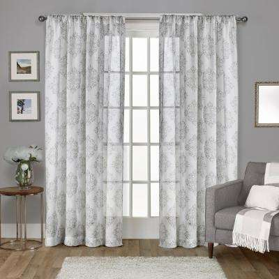 Nagano 54 in. W x 96 in. L Sheer Rod Pocket Top Curtain Panel in Dove Gray (2 Panels)