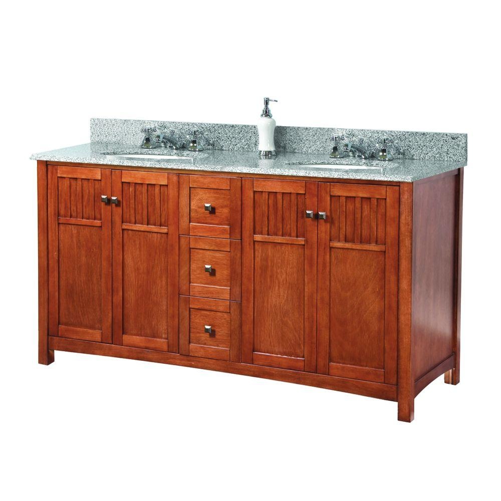 Home Decorators Collection Fremont 72 In W X 22 In D Double Bath Vanity In Grey With Granite