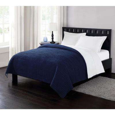 Garment Washed Crinkle and Sherpa Blue King Blanket