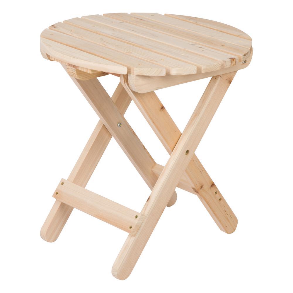 Adirondack Natural Round Wood Folding Table