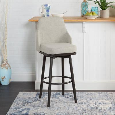 Cyrene Adjustable 24 in. - 29 in. Gray Upholstered Curved Back Bar Stool