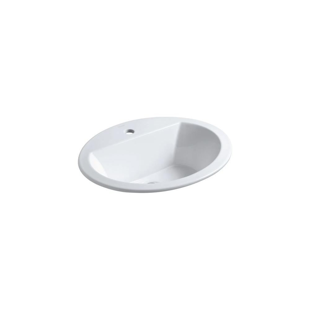Bryant Drop-In Vitreous China Bathroom Sink in White with Overflow Drain
