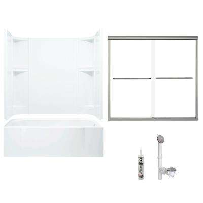 Accord 30 in. x 60 in. x 72 in. Bath and Shower Kit with Right-Hand Drain in White and Brushed Nickel