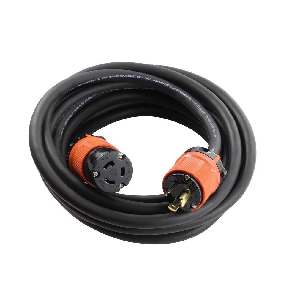 AC Connectors 25 ft. SOOW 12/3 NEMA L5-20 20 Amp 125-Volt Rubber Extension Cord