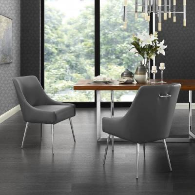 Capelli Grey/Chrome PU Leather Metal Leg Armless Dining Chair (Set of 2)