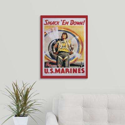 """Smack 'Em Down! - Vintage Marines Poster"" by Vintage Apple Collection Canvas Wall Art"