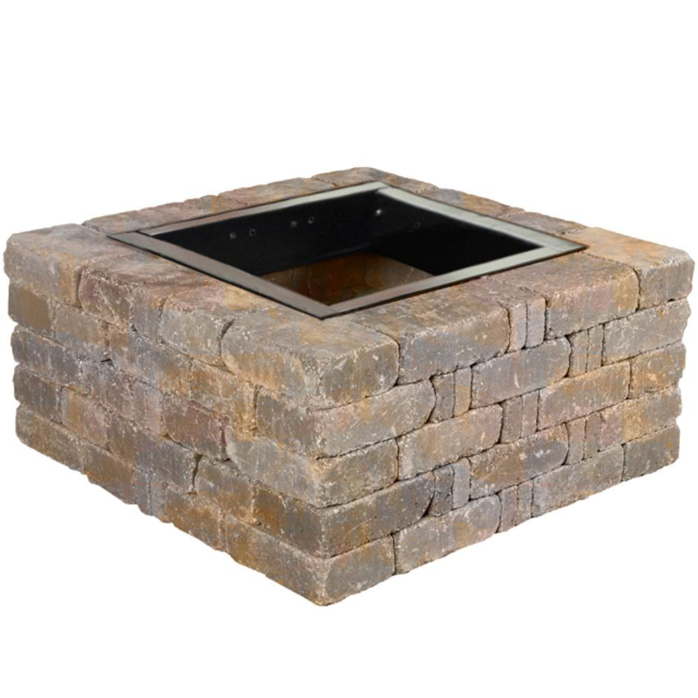 Pavestone RumbleStone 38.5 in. x 17.5 in. Square Concrete Fire Pit Kit No. - Pavestone RumbleStone 38.5 In. X 17.5 In. Square Concrete Fire Pit